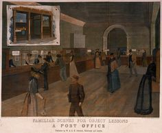 Familiar Scenes for Object Lessons. A Post Office by W A K Johnston. Object Lessons, Post Office, Buildings, Painting, Snail Mail, Painting Art, Paintings, Drawings