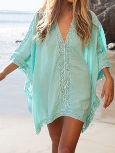 Shop Aqua Asymmetric Crochet V-neck Bat Sleeve Poncho Cover Up from choies.com .Free shipping Worldwide.$16.9