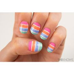 Pastel striped nail art tutorial