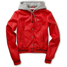 Obey Varsity Lover red hooded faux leather jacket for girls. Large