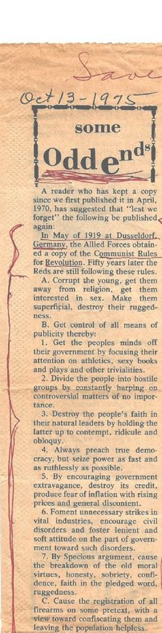 Lest we forget - Communist Rules from 1919 were republished on Oct 13, 1975. eerily similar to what is happening today