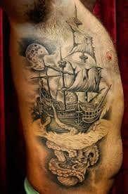 Beste Piratenschiff Tattoo Designs & Bedeutungen - Masters of the Seas - Tattoo Ideen Octopus Tattoo Sleeve, Nautical Tattoo Sleeve, Octopus Tattoos, Map Tattoos, Bild Tattoos, Elephant Tattoos, Sleeve Tattoos, Nautical Tattoos, Tattoo Designs And Meanings