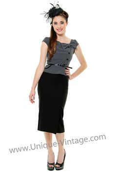 This is a beautiful wiggle dress! It is a suit style dress with grey ruffle top decorated with matching bow and belt paired with a solid black wiggle skirt. The bodice has black buttons down the left side and small cap sleeves. This dress is 63% polyester 33% rayon 4% spandex.