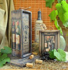 Handmade Home Decor Wine Bottle Covers, Wine Gift Boxes, Decoupage Box, Altered Bottles, Gifts For Wine Lovers, Diy Home Decor Projects, Handmade Home Decor, Keepsake Boxes, Cool Artwork
