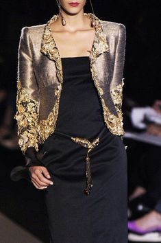 Valentino at Couture Fall 2005. Black & Gold. Black Dress and Gold Jacket.