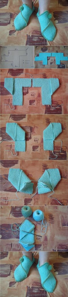 One Piece Fold and Seam Knitting Patterns Hausschuhe Free Knitting Instructions Loom Knitting, Knitting Socks, Knitting Stitches, Free Knitting, Knitted Slippers, Crochet Slippers, Knit Crochet, Crochet Stitch, Elf Slippers