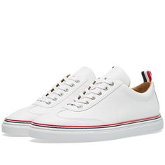 Buy the Thom Browne Toe Cap Sneaker in White Pebble Grain from leading mens fashion retailer END. - only Fast shipping on all latest Thom Browne products White Pebbles, Thom Browne, Designer Shoes, Classic Style, Shoe Boots, Vans, Menswear, Luxury, Men's Sneakers