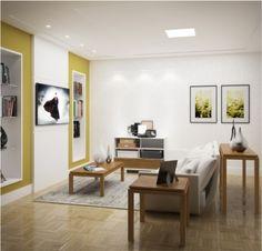 Conjunto para sala de estar / Linha Lavander - Branco/neve com carvalho escovado