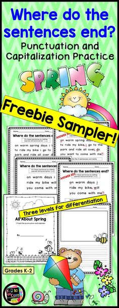 """FREE sample pages from my spring-themed """"Where do the sentences end?"""" product. Provide your students with capitalization and punctuation practice with these NO PREP differentiated editing and writing practice sheets. Each page has 2, 3, or 4 spring-themed sentences with missing capitals and punctuation. Your students' job is to figure out where the sentences end, edit the sentences, and then rewrite them with correct capitalization and punctuation."""