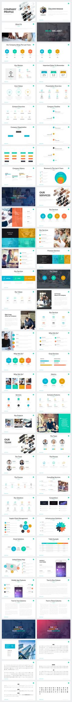 Company Profile Powerpoint Template by Rocketo Graphics on @creativemarket