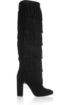 Paul Andrew Tara fringed suede knee boots | THE OUTNET