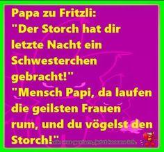 """Papa zu Fritzli: """"Der Storch hat Dir letzte Nacht ein Schwesterchen gebracht!"""" ..."""