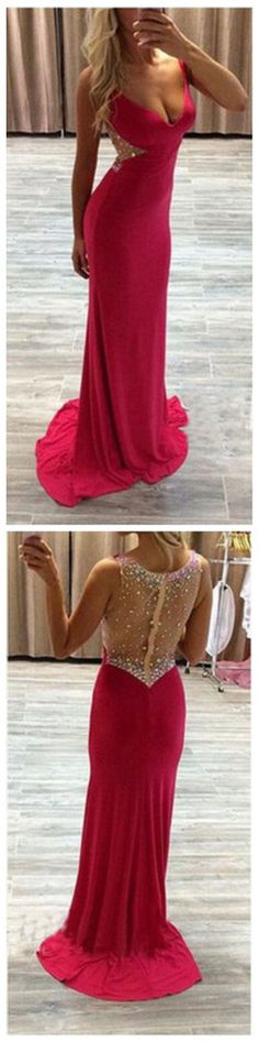 Charming Red Prom Dress Back Sheer Prom Dress Prom Dress with Sweep Train,See Through Prom Evening Dress,Beading Prom Gowns Long Party Dress  sold by BallaDresses. Shop more products from BallaDresses on Storenvy, the home of independent small businesses all over the world.
