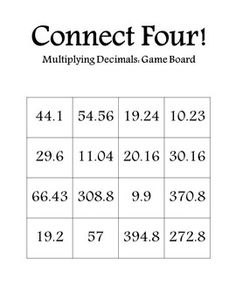 Connect Four: Multiplying Decimals ~I used this game/activity for one of my…