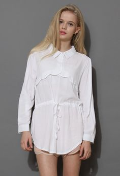 White Blouse with Drawstring Detail