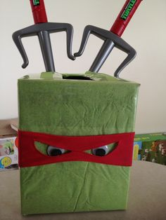 Ninja Turtle Valentine Box | tmnt centerpiece. | Teenage Mutant Ninja Turtles