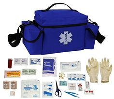 Ultimate Arms Gear Blue Compact Emergency Medical Supplies Survival Rescue Bag Pack Kit  First Aid Trauma Fully Stocked Kit Contents Come In Polybag USA MADE ** Click image to read more details. #OutdoorSurvival