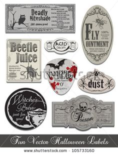 Fun Halloween Vintage Style Labels and Icons. Use to set the scene for your spooky Halloween! by NuDesign.co, via ShutterStock