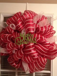 Mesh ribbon Christmas wreath