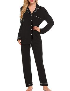 Women s Sleep   Loungewear - Ekouaer Pajamas Women s Long Sleeve Sleepwear  Soft Pj Set XS-XXL at Women s Clothing store  0c0a97491