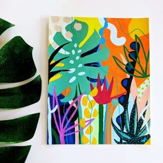 Filomena is an art print reproduction of an original acrylic painting by Chicago-based artist Ponnopozz (Adrianne Hawthorne) – Printed on thick, durable, matte paper. Archival and acid-free – from the Tropical Garden series – painting acrylic Filomena Plant Painting, Plant Art, Garden Painting, Tropical Art, Tropical Garden, Tropical Paintings, Colorful Paintings, Contemporary Paintings, Modern Contemporary