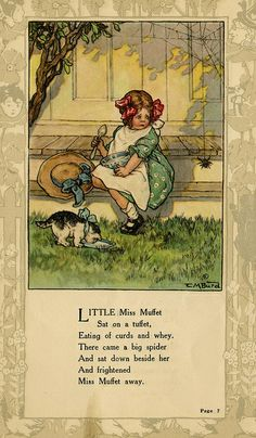 """""""Little Miss Muffet..."""" illustration by Clara M. Burd for her book 'Mother Goose and Her Goslings', c. 1912-18. Courtesy The Texas Collection, Baylor University."""