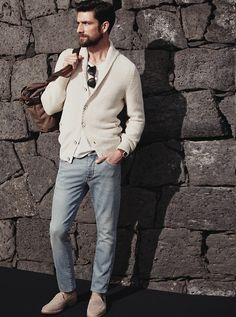 Cream Cotton Cardigan, Faded Denim Jeans, and Taupe Suede Loafers. Men's Spring Summer Fashion.