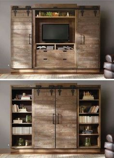19 Best DIY Entertainment Center Ideas For Inspiration [Watch More Fun] Looking for ideas to build your own entertainment center that suits your tastes and the space in your living room. Get inspired free DIY entertainment center ideas to get started. Tv Furniture, Cabinet Furniture, Repurposed Furniture, Diy Entertainment Center, Entertainment Products, Entertainment Units, Rustic Walls, Rustic Doors, Wooden Doors