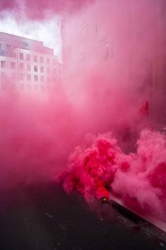 pink smoke.