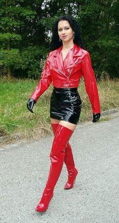 — fetishchix: Lady Anja is a beautiful thigh boot. Sexy Latex, Latex Babe, Mode Latex, Crotch Boots, Vinyl Clothing, Thigh High Boots Heels, Latex Dress, Latex Skirt, Latex Girls
