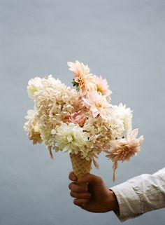 Waffle cone bouquet by Parker Fitzgerald for Kinfolk Ice Cream Flower, Cream Flowers, Beautiful Flowers, Pastel Flowers, Pastel Colors, Spring Flowers, Parker Fitzgerald, Kinfolk Magazine, Wedding Bouquets