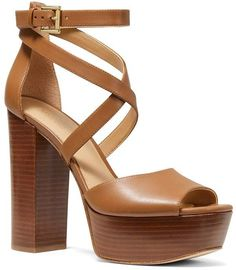 ff96dbcb3038 MICHAEL Michael Kors Women s Burke Leather Platform Sandals Brown Sandals