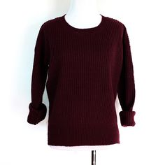 Classic cute knit sweater featuring a scoop neck and side slits. Super cute paired with boyfriend jeans. Standard fit.   Approx. measurements from a Size SMALL  (Add an inch for next size up)   Bust: 44 inches Length: 21.5 inches  100% Acrylic Imported