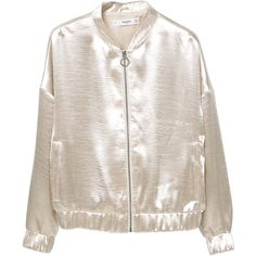 Satin Bomber Jacket ($48) ❤ liked on Polyvore featuring outerwear, jackets, bomber jacket, tops, pink zip jacket, embellished jacket, lined bomber jacket and pocket jacket