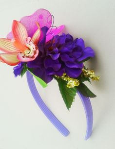 Beach Wedding Butterfly Headband with Orchid, Pearls, Tropical leaves