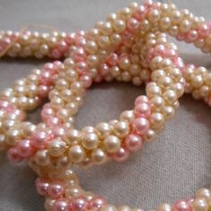 VINTAGE Mid Century Jewelry Pink & pearl stripe hand crocheted necklace long art #Handmade #StrandString