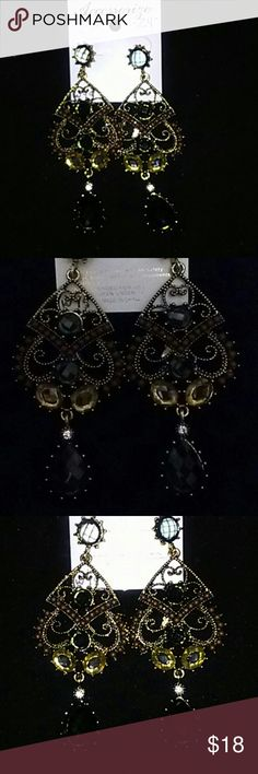 STEAMPUNK CHANDELIER RHINESTONE EARRINGS Chocolate brown and muted green long delicious sparkle earrings accented with brown beads and goldwork. Jewelry Earrings