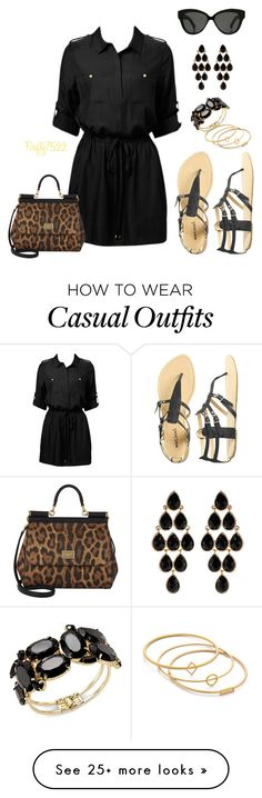 """Casual Black"" by firefly7522 on Polyvore featuring Forever New, Dolce&Gabbana, Wet Seal, Linda Farrow, Thalia Sodi, Madewell and Amrita Singh"