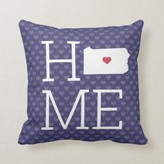 Pennsylvania Home State Map Hearts Navy Blue Throw Pillow | Zazzle.com (sponsored) Navy Blue Throw Pillows, Blue Throws, Light Navy Blue, Heart Map, Navy Blue Background, White Letters, State Map, Decorative Cushions, Custom Pillows