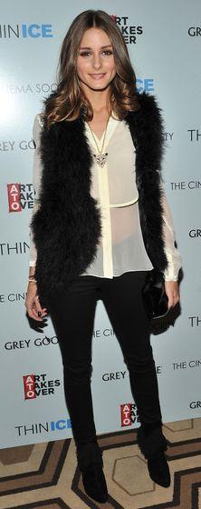Fur vest, black jeans get sheer ivory blouse,black ankle boots