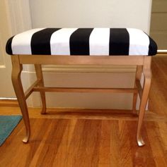 Black, white & gold stripes bench