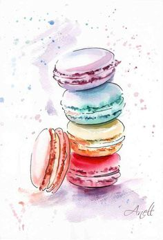 Watercolor Macaroons Print - Watercolor Painting - Wall Decor - Poster Giclee Print Wall - Home Decor - Baby Nursery - Nursery - Aquarelle - Watercolor Food, Watercolor Print, Watercolor Paintings, Watercolor Sunflower, Watercolor Artists, Art And Illustration, Art 33, Kunst Poster, Painting For Kids