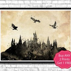 Hogwarts Castle 6 Harry Potter Black Watercolor Art Print Archival Fine Art…