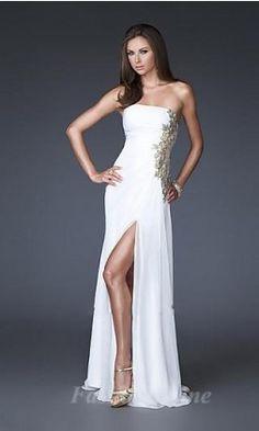 Sheath Chiffon Strapless Long Dress fashion00615