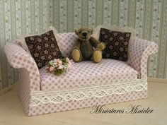 Miniature Dollhouse Sofa With Teddy and 2 Pillows by Minicler, $34.47