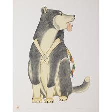 Kananginak Pootoogook print entitled Working Dog