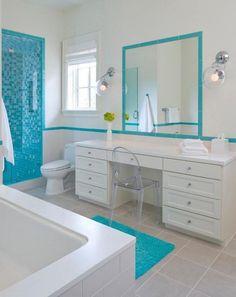 Carrelage mural rigato bianco turquoise 25 x 40 cm - Revetement mural salle de bain castorama ...