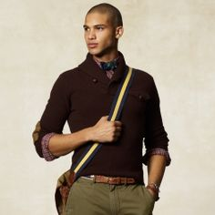 Ralph Lauren Elbow Patch Shawl Pullover      Shawl collar + Elbow patched = Love