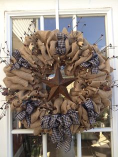 Burlap wreath Primitive Wreath Americana by TranquilitybyAney, $60.00