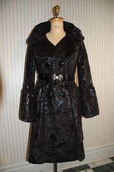 Posh Designer Foiled Faux Fur Coat w Metal Belt - Svetlana